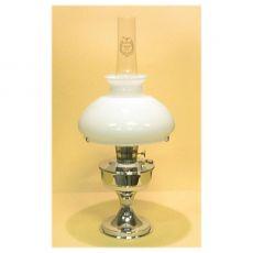 Aladdin jalallinen pöytälamppu opaalilasikuvulla, kromattu. Sähköistetty versio.
