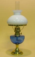 Öljylamppu De Verre 15 opaalilasikuvulla, sininen