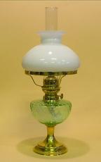 Öljylamppu De Verre opaalilasikuvulla, vihreä